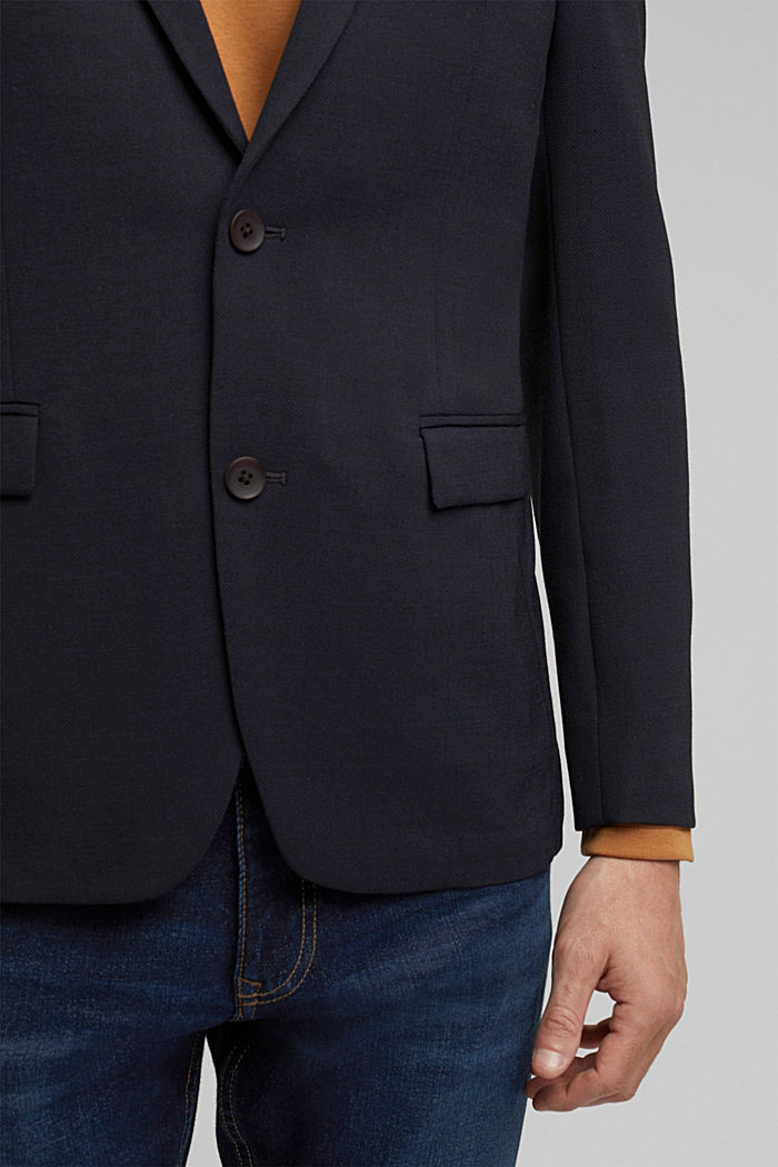 With wool: finely textured jacket, DARK BLUE, detail image number 2