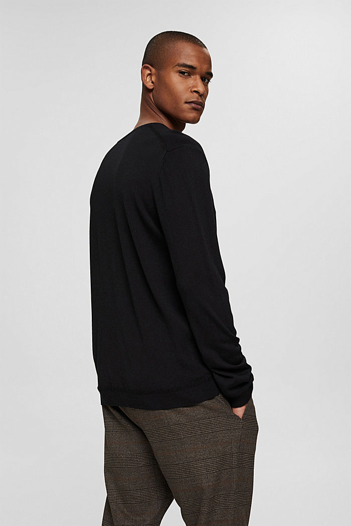 Made of 100% merino wool: crewneck jumper, BLACK, detail image number 3