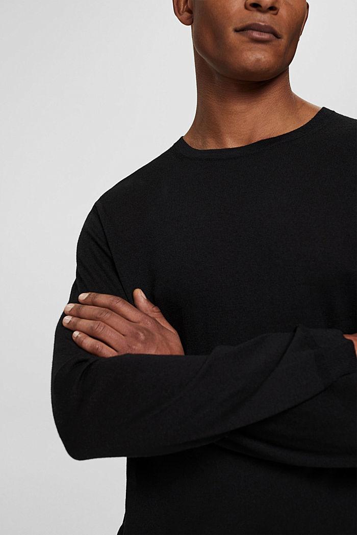 Made of 100% merino wool: crewneck jumper, BLACK, detail image number 2