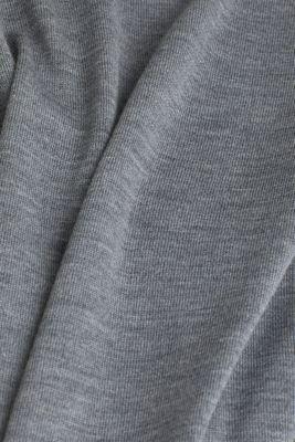 Made of 100% merino wool: crewneck jumper, GREY, detail