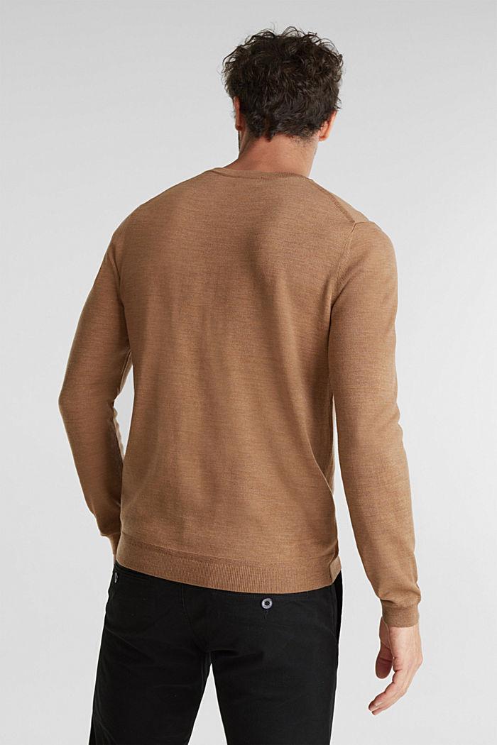Made of 100% merino wool: crewneck jumper, CAMEL, detail image number 3