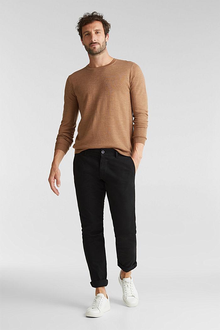 Made of 100% merino wool: crewneck jumper, CAMEL, detail image number 1