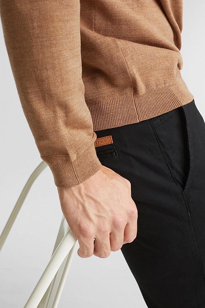 Made of 100% merino wool: crewneck jumper, CAMEL, detail image number 2