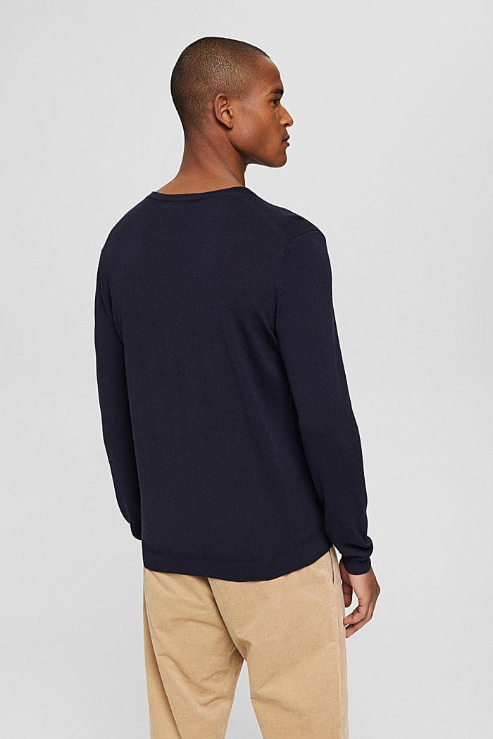 Made of 100% merino wool: crewneck jumper, NAVY, detail image number 2