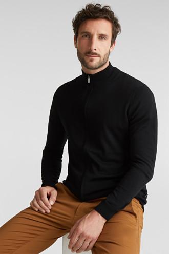 Made of merino wool: zip-up cardigan