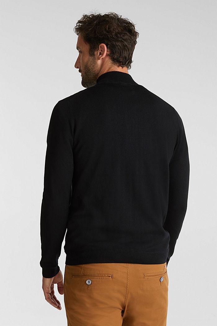 Made of merino wool: zip-up cardigan, BLACK, detail image number 3