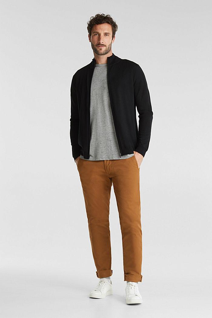 Aus Merino-Wolle: Zipp-Cardigan, BLACK, detail image number 1