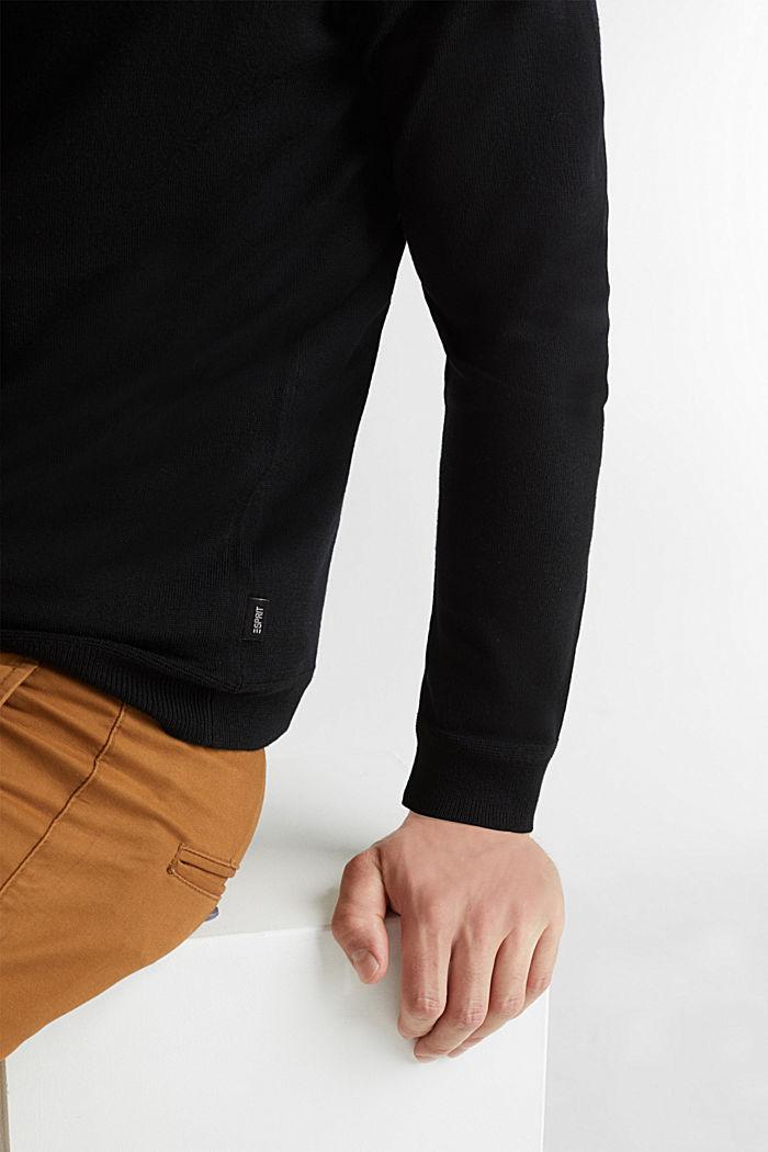Aus Merino-Wolle: Zipp-Cardigan, BLACK, detail image number 2