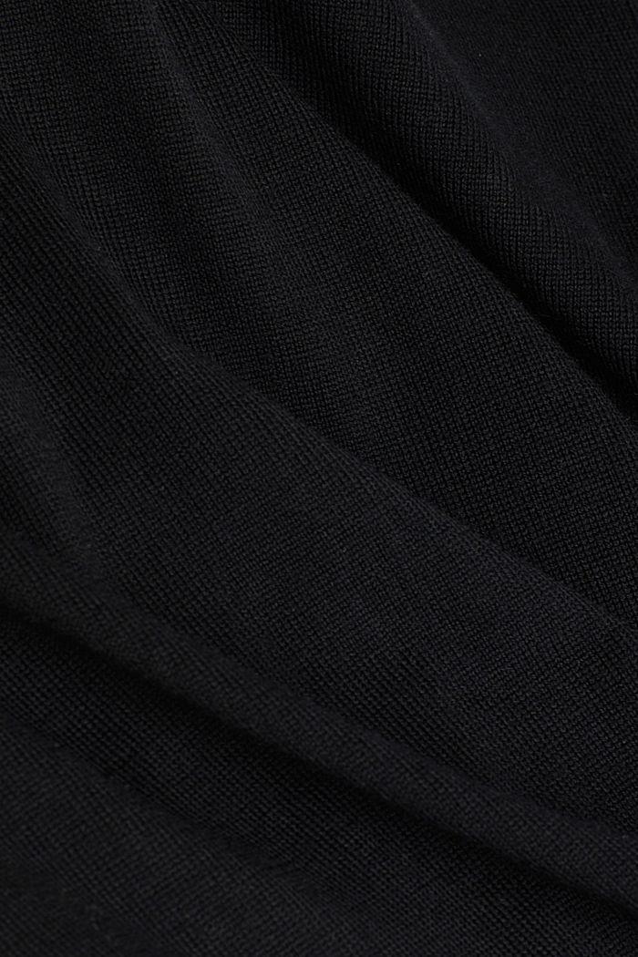 Made of merino wool: zip-up cardigan, BLACK, detail image number 4