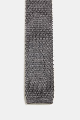 Made of 100% wool: Knit scarf, GREY 5, detail