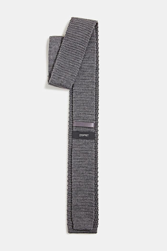Van 100% wol: gebreide stropdas, GREY, detail image number 2