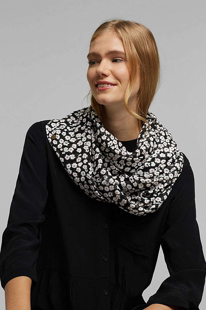 Recycled: floral snood, BLACK, detail image number 1