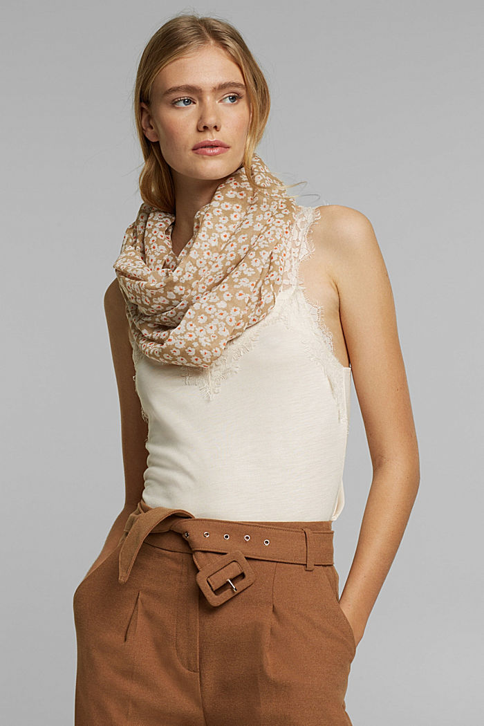 Recycled: floral snood, BEIGE, detail image number 1
