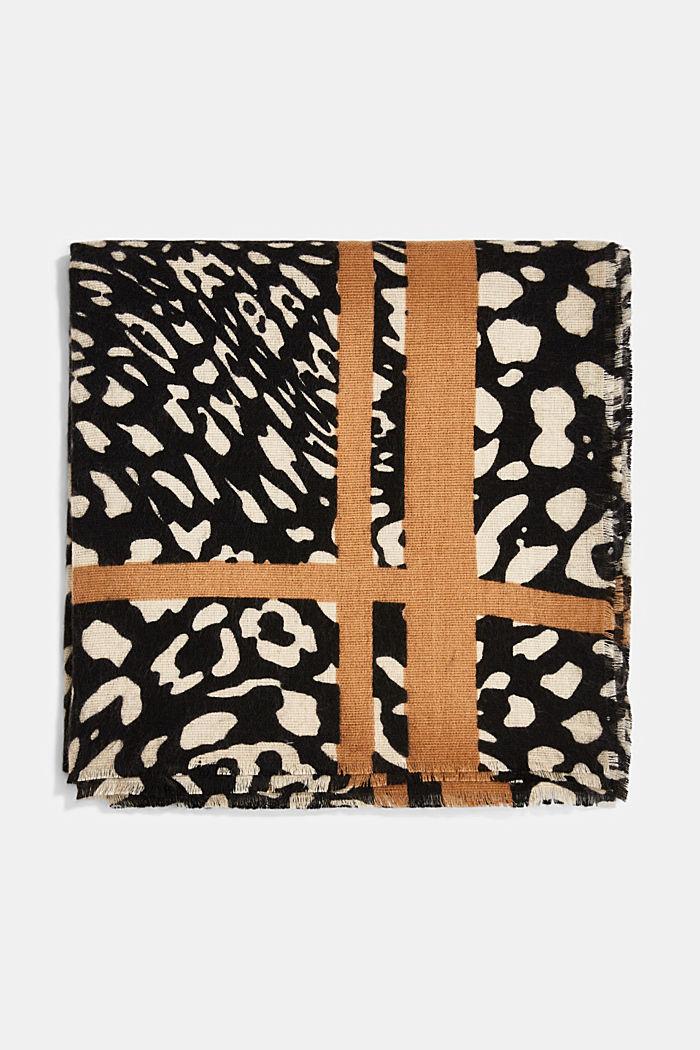 Gerecycled: sjaal met luipaardlook, BLACK, detail image number 4
