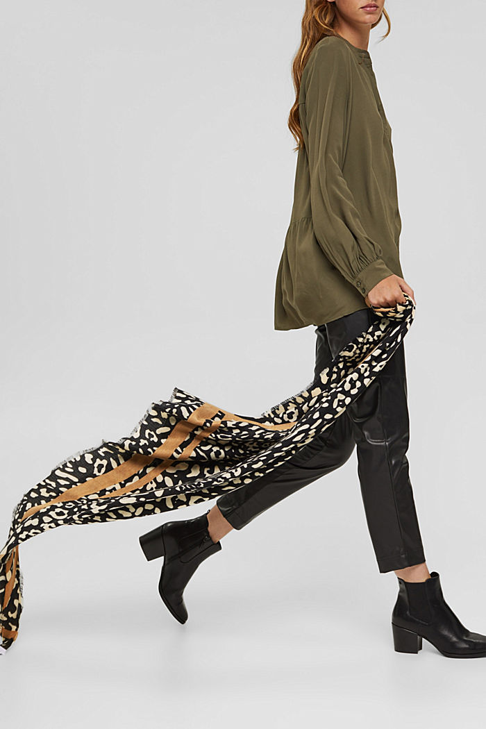 Gerecycled: sjaal met luipaardlook, BLACK, detail image number 3