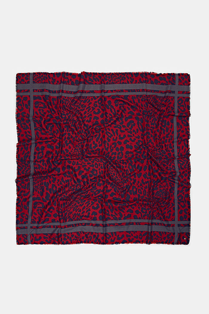In materiale riciclato: foulard leopardato, DARK RED, detail image number 4