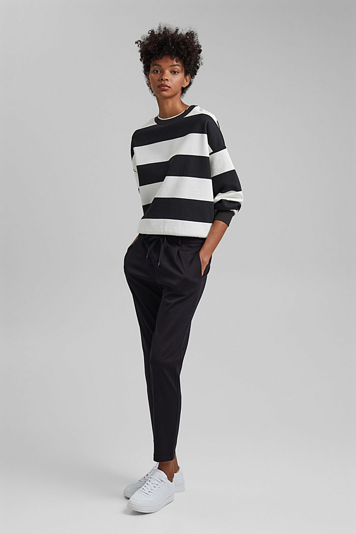 Stretch trousers with an elasticated waistband, BLACK, detail image number 1
