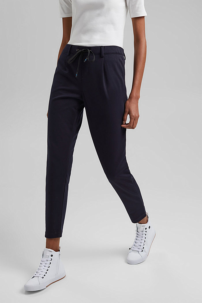 Stretch trousers with an elasticated waistband, DARK BLUE, detail image number 0