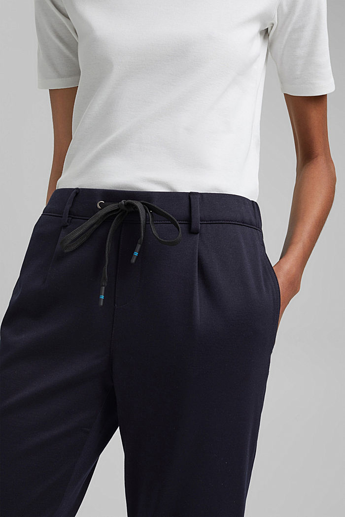 Stretch trousers with an elasticated waistband, DARK BLUE, detail image number 2