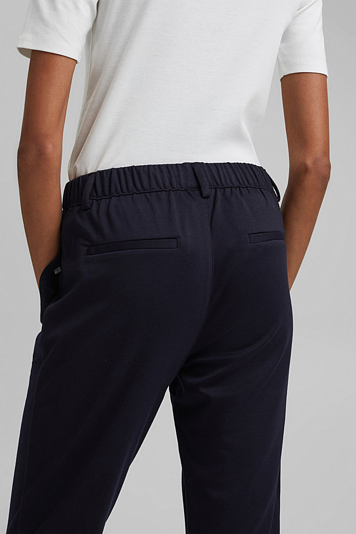 Stretch trousers with an elasticated waistband, DARK BLUE, detail image number 5