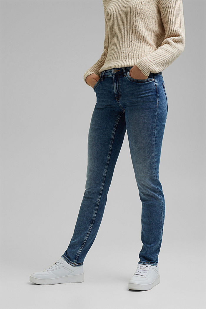 Stretch jeans with organic cotton, BLUE MEDIUM WASHED, detail image number 0
