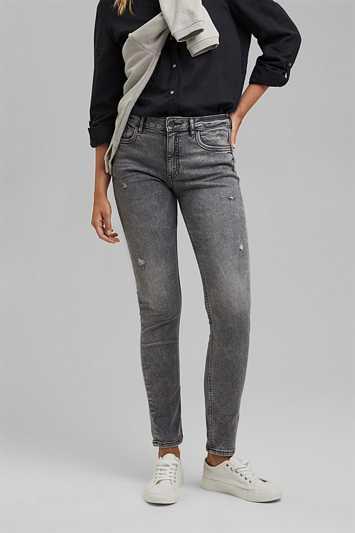 Stretch jeans containing organic cotton, GREY MEDIUM WASHED, detail image number 0