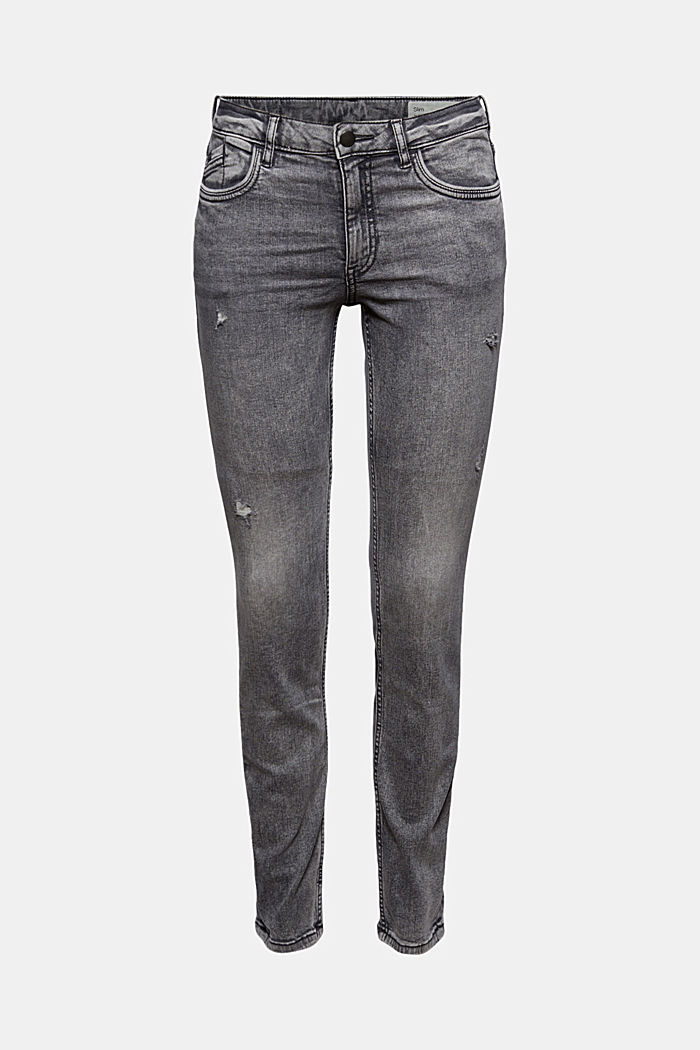 Stretch jeans containing organic cotton, GREY MEDIUM WASHED, detail image number 6