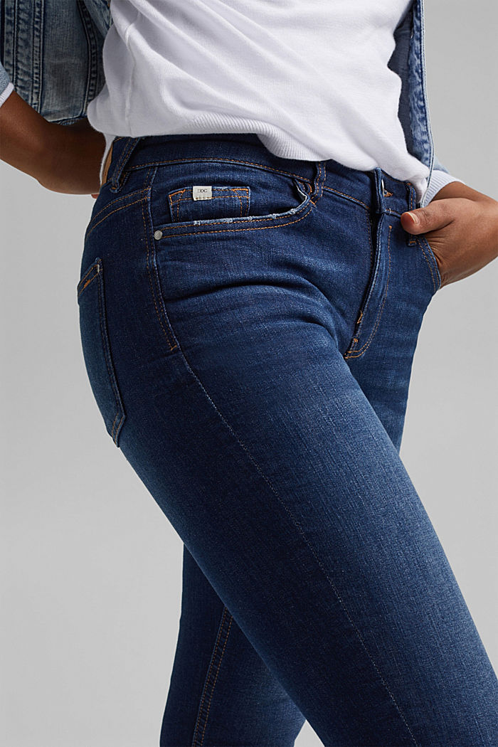 Capri jeans made of organic cotton, BLUE DARK WASHED, detail image number 2