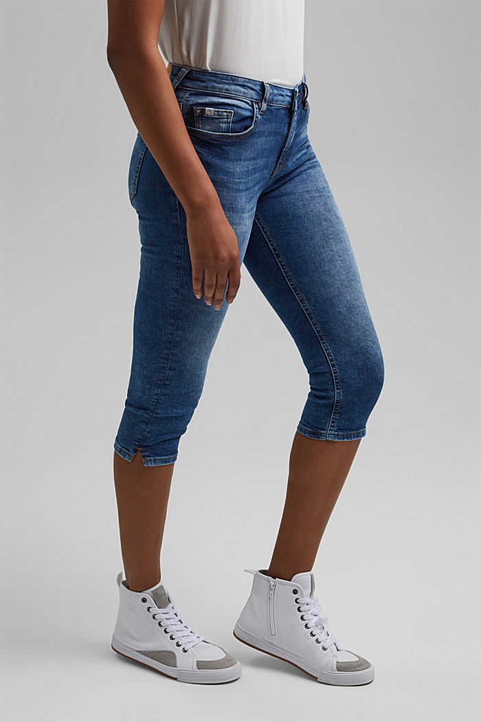 Capri jeans made of organic cotton, BLUE MEDIUM WASHED, detail image number 0