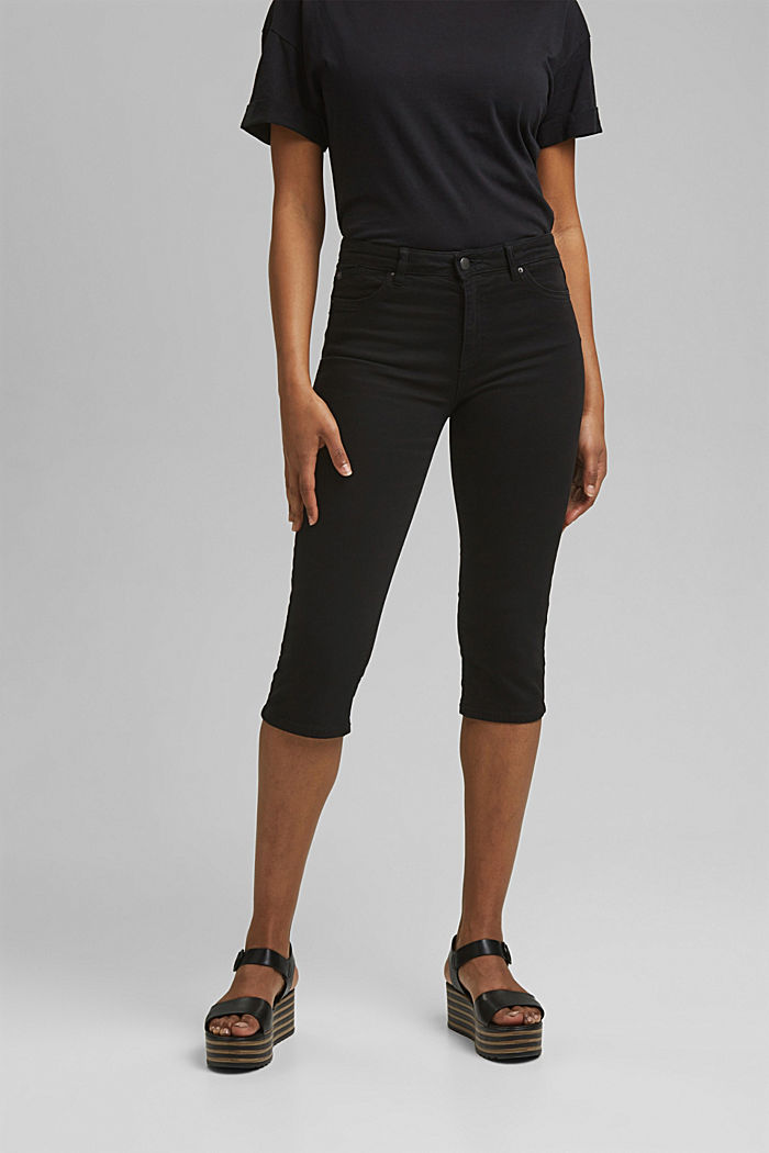 Organic cotton capri trousers, BLACK, detail image number 0