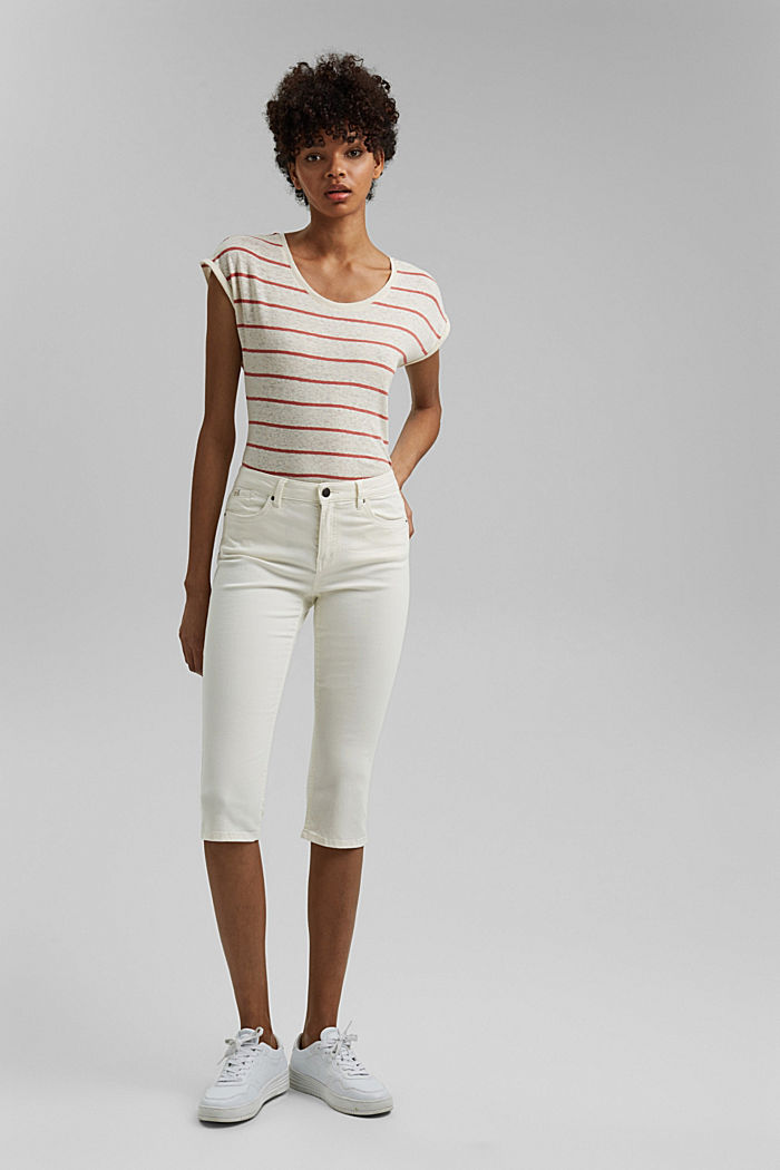 Organic cotton capri trousers, WHITE, detail image number 1