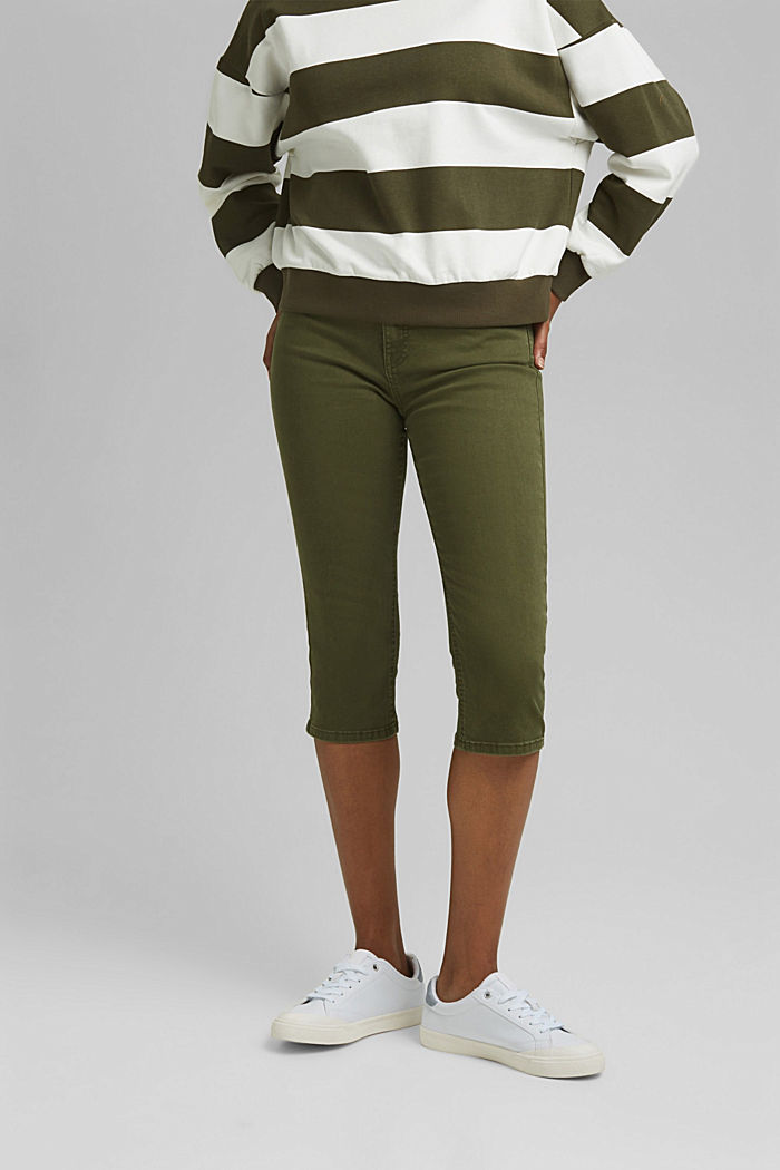 Organic cotton capri trousers, KHAKI GREEN, detail image number 0