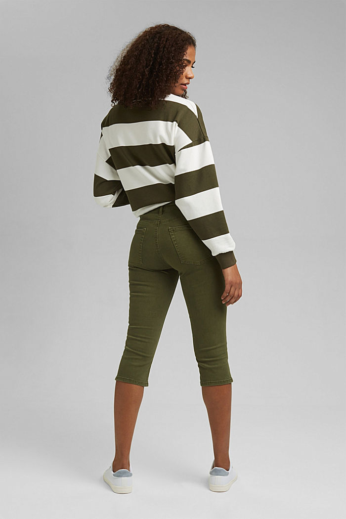 Organic cotton capri trousers, KHAKI GREEN, detail image number 3