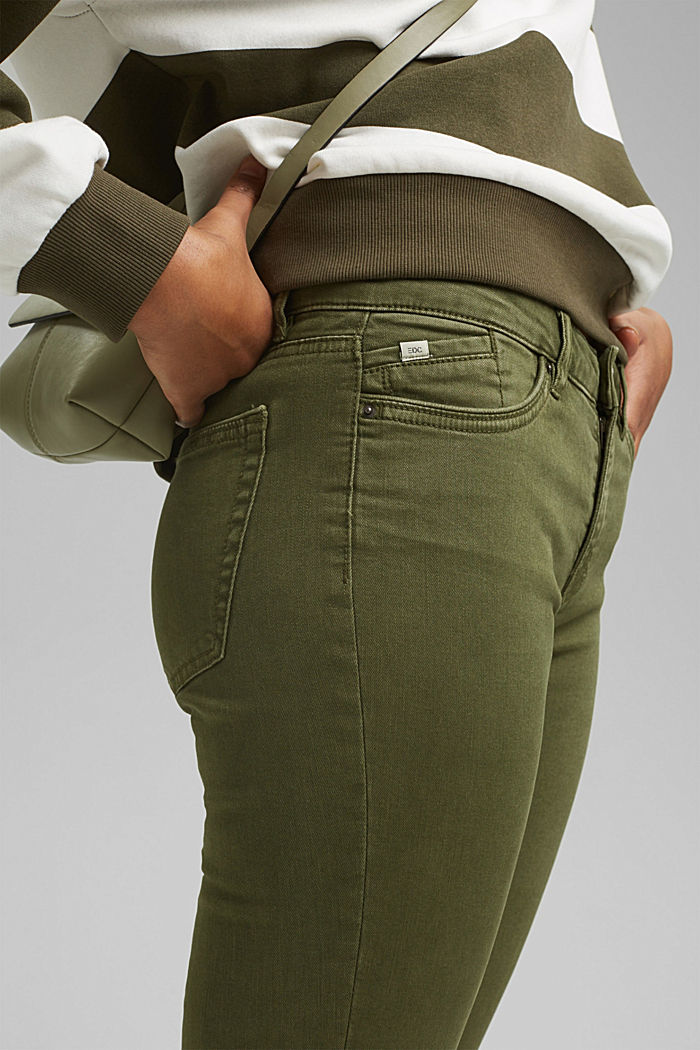 Organic cotton capri trousers, KHAKI GREEN, detail image number 2