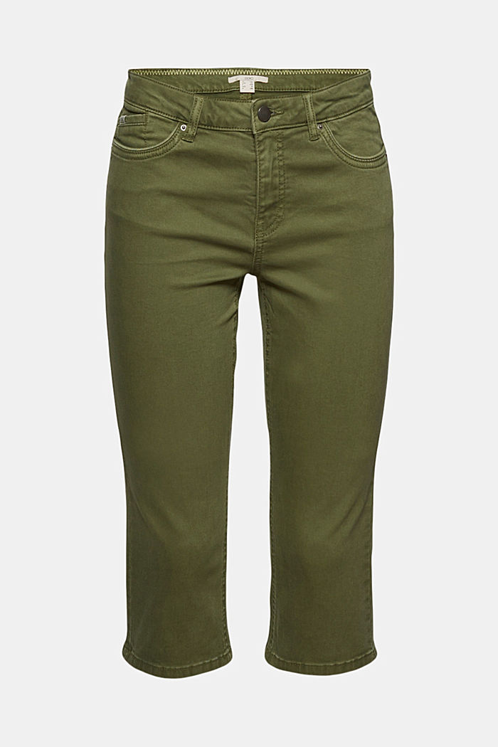 Organic cotton capri trousers, KHAKI GREEN, detail image number 7