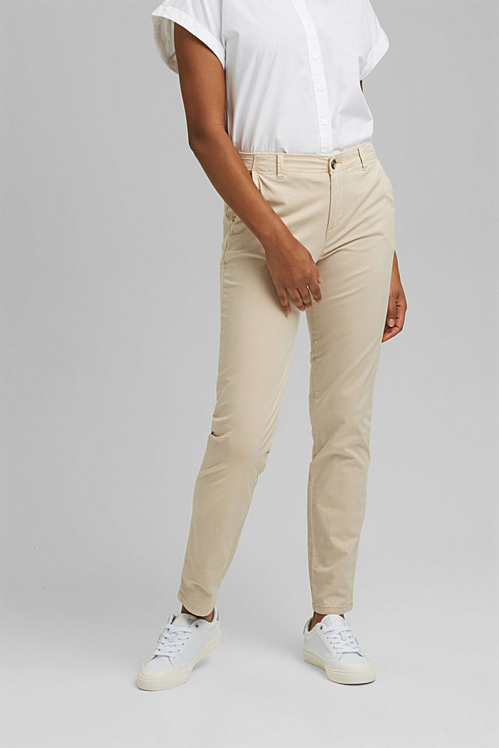 Stretch chinos containing pima organic cotton, BEIGE, detail image number 0