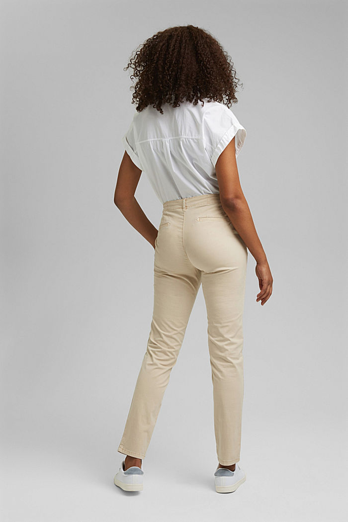 Stretch chinos containing pima organic cotton, BEIGE, detail image number 3