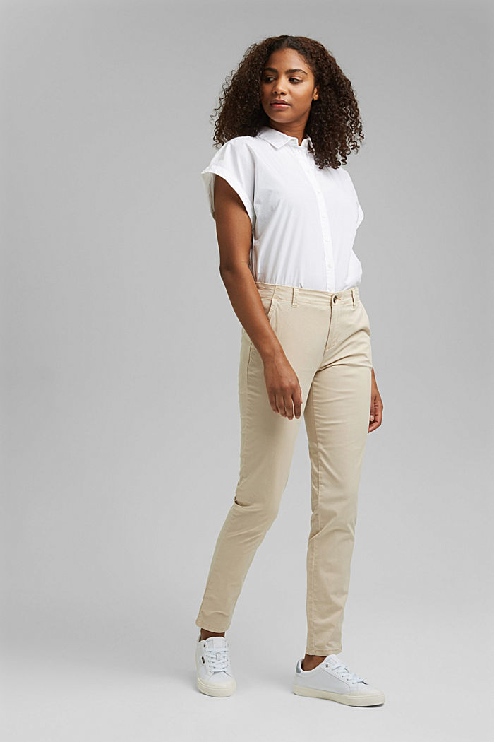 Stretch chinos containing pima organic cotton, BEIGE, detail image number 1