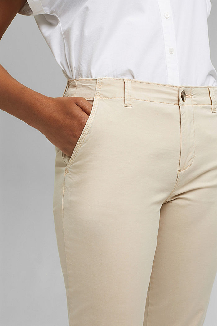 Stretch chinos containing pima organic cotton, BEIGE, detail image number 2