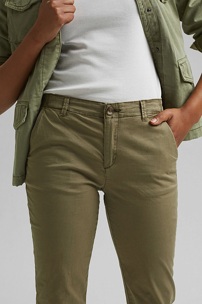Stretch chinos containing pima organic cotton, LIGHT KHAKI, detail image number 2