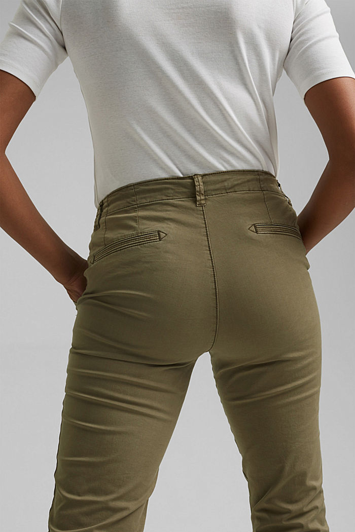 Stretch chinos containing pima organic cotton, LIGHT KHAKI, detail image number 5