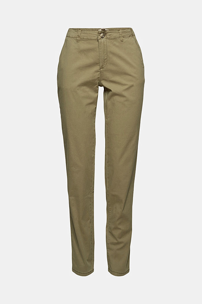 Stretch chinos containing pima organic cotton