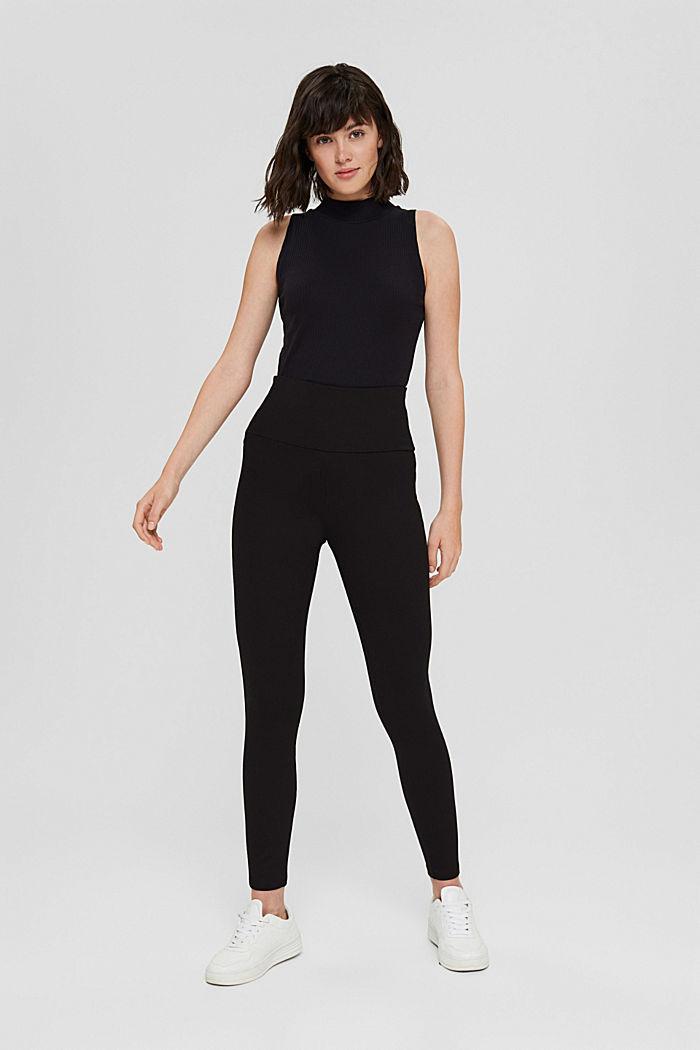 Leggings en jersey punto, LENZING™ ECOVERO™, BLACK, detail image number 1