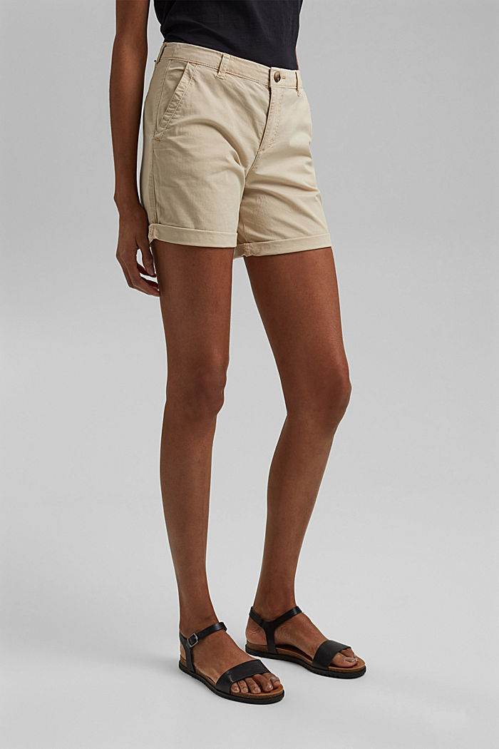 Chino shorts made of stretch pima organic cotton, BEIGE, detail image number 0