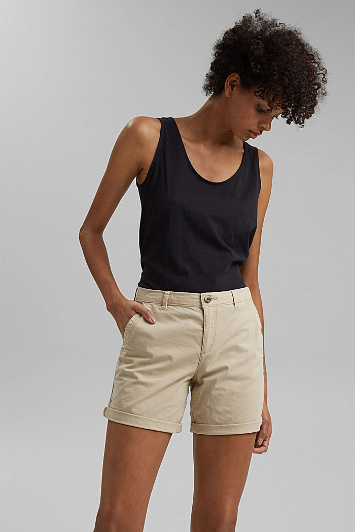 Chino shorts made of stretch pima organic cotton, BEIGE, detail image number 6