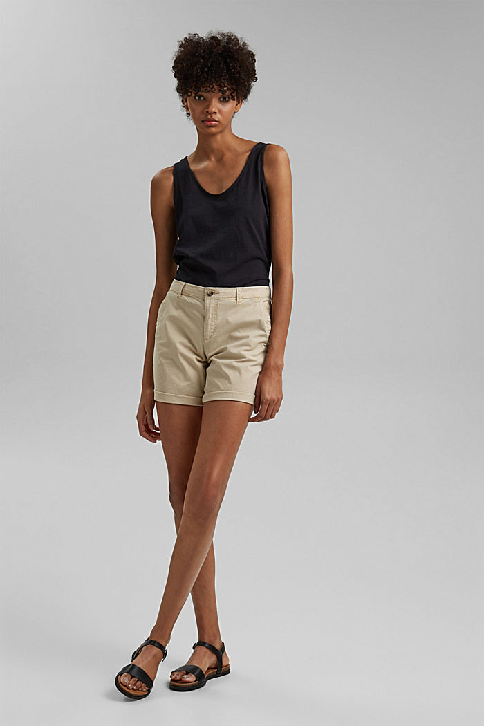 Chino shorts made of stretch pima organic cotton, BEIGE, detail image number 1