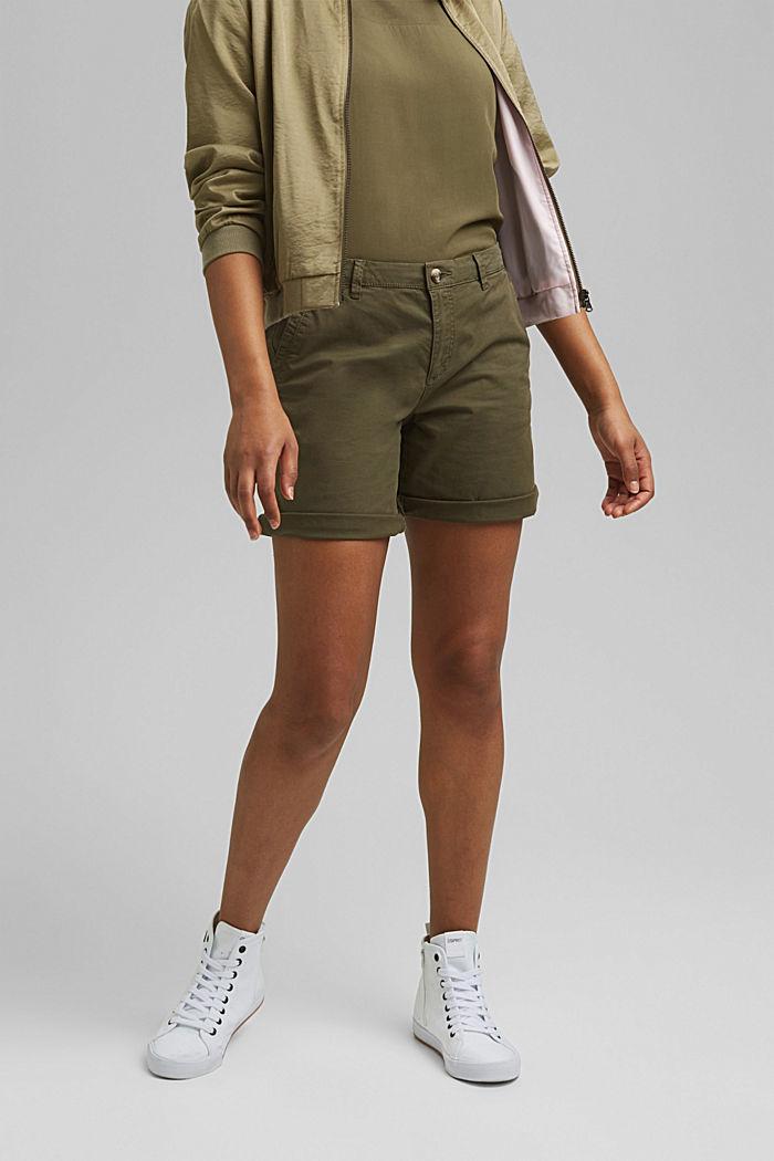 Chino shorts made of stretch pima organic cotton, KHAKI GREEN, detail image number 0