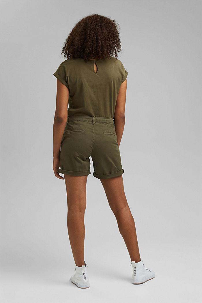 Chino shorts made of stretch pima organic cotton, KHAKI GREEN, detail image number 3