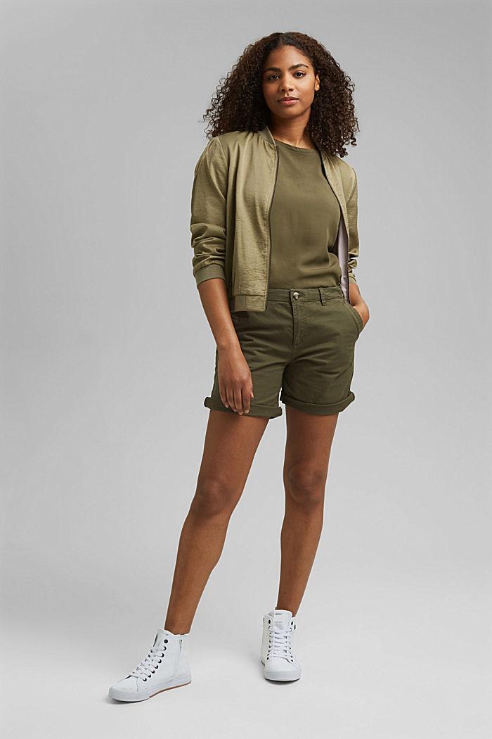 Chino shorts made of stretch pima organic cotton, KHAKI GREEN, detail image number 1