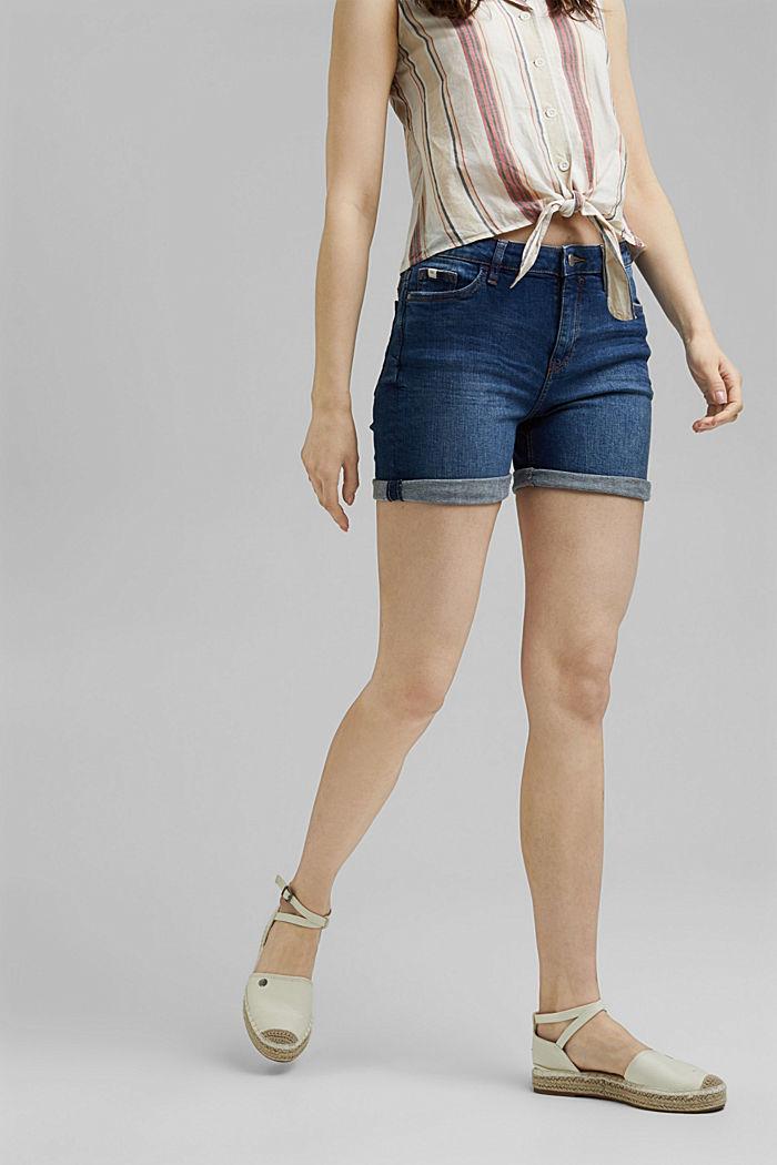 Shorts in denim elasticizzato, BLUE DARK WASHED, detail image number 0